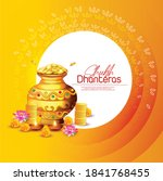 happy dhanteras  gold coin in... | Shutterstock .eps vector #1841768455