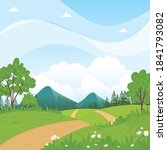 beautiful rural landscape with...   Shutterstock .eps vector #1841793082