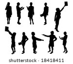 silhouettes of business woman   ... | Shutterstock .eps vector #18418411