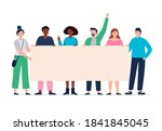 protesting people holding a...   Shutterstock .eps vector #1841845045