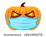 pumpkin with medical mask for... | Shutterstock . vector #1841983078
