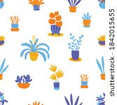 potted plants flat seamless... | Shutterstock .eps vector #1842015655