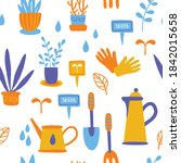 potted plants flat seamless... | Shutterstock .eps vector #1842015658