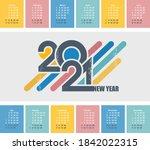2021 calendar grid in english ... | Shutterstock .eps vector #1842022315