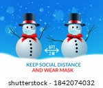two snowmen at a safe distance... | Shutterstock .eps vector #1842074032