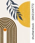 abstract sun moon leaves print... | Shutterstock .eps vector #1842144772