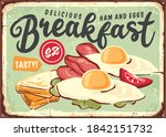 breakfast vintage tin sign with ...   Shutterstock .eps vector #1842151732