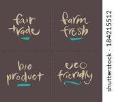 hand written food vector labels ... | Shutterstock .eps vector #184215512