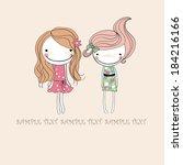 two smiling girls  | Shutterstock .eps vector #184216166