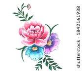 watercolor bouquets of flowers... | Shutterstock . vector #1842161938
