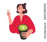 green matcha tea serve and...   Shutterstock .eps vector #1842184042