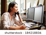 female architect working at... | Shutterstock . vector #184218836