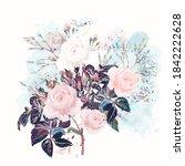 beautiful vector  rose flowers...   Shutterstock .eps vector #1842222628