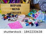 Sewing Box With Repair  Mend...