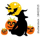 halloween young witch and... | Shutterstock .eps vector #18422515