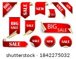 big sale red labels. vector set ... | Shutterstock .eps vector #1842275032