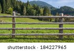 Wooden Fence At Ranch And Gree...