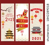 red gold chinese happy new year ... | Shutterstock .eps vector #1842289018