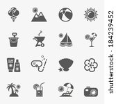 summer icons  vector.