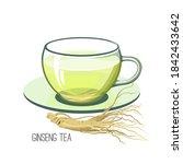 ginseng tea. health herb food... | Shutterstock .eps vector #1842433642