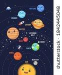 the cute solar system design.... | Shutterstock .eps vector #1842445048