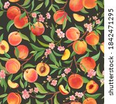 peach pattern with tropic... | Shutterstock .eps vector #1842471295