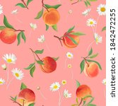 peach pattern with daisy ...   Shutterstock .eps vector #1842472255