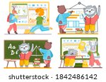 animals in a classroom. funny... | Shutterstock .eps vector #1842486142