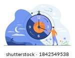 man moving clock arrows and... | Shutterstock .eps vector #1842549538