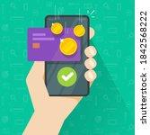 mobile phone with money bonus... | Shutterstock .eps vector #1842568222