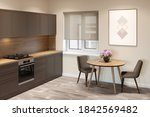 Beige Kitchen Interior With A...