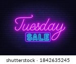 tuesday sale neon sign on brick ... | Shutterstock .eps vector #1842635245