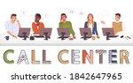 call center  hotline flat...   Shutterstock .eps vector #1842647965