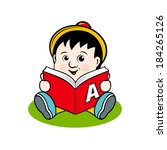 small child with a book... | Shutterstock . vector #184265126