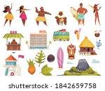 hawaii icon set with hawaiian... | Shutterstock .eps vector #1842659758