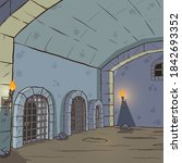 cartoon medieval dungeon... | Shutterstock .eps vector #1842693352