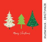 sets of christmas tree with red ... | Shutterstock .eps vector #1842714628