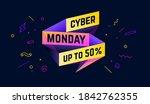 cyber monday. 3d sale banner... | Shutterstock .eps vector #1842762355