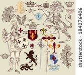 vector set of luxury royal... | Shutterstock .eps vector #184276406