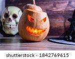 Halloween Pumpkin Lantern With...