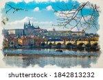 Watercolor Drawing Of Prague...