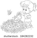girl watering flowers on a... | Shutterstock .eps vector #184282232