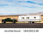 pick up truck  with rv travel... | Shutterstock . vector #184283138