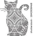 cat coloring book for adult cat ...   Shutterstock .eps vector #1842838468