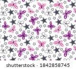 butterflies and stars pattern... | Shutterstock .eps vector #1842858745
