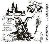 Set Of Graphic Drawings Krampu...