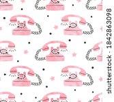 seamless retro telephone... | Shutterstock .eps vector #1842863098