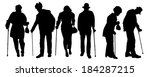 vector silhouette of old people ... | Shutterstock .eps vector #184287215