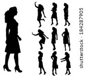 vector silhouettes of woman on... | Shutterstock .eps vector #184287905