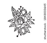 elegant bouquet of peonies and... | Shutterstock .eps vector #1843033645